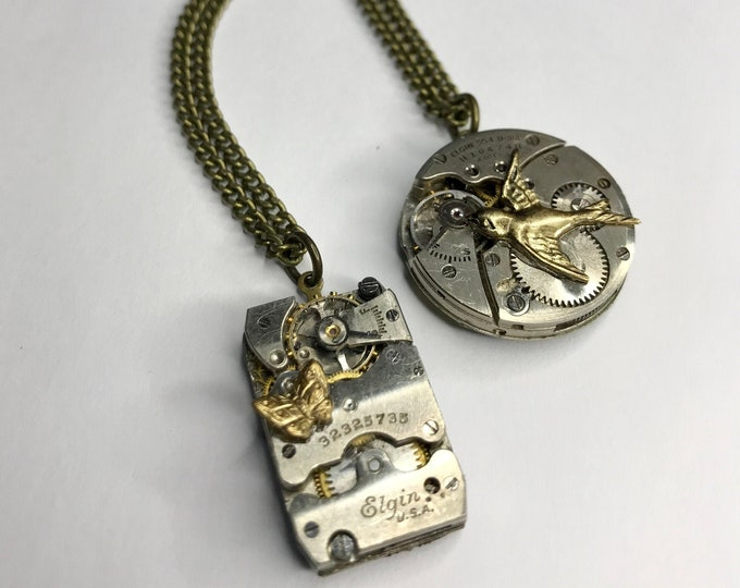 1 Vintage Watch Movement Necklace, Repurposed Jewelry, Steampunk  Watch Necklace, Watch Part Jewelry, Upcycled Necklace, Industrial Necklace