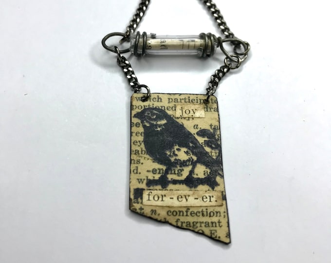 Collage Crow Pendant, Altered Art Necklace, One Of A Kind Handmade Jewelry, Mixed Media Jewelry, Bird Jewelry, Wild Life Necklace,