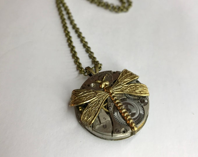 Steampunk Necklace, Repurposed Jewelry, Vintage Watch Movement Necklace, OOAK Watch Part Jewelry, Industrial Style Necklace