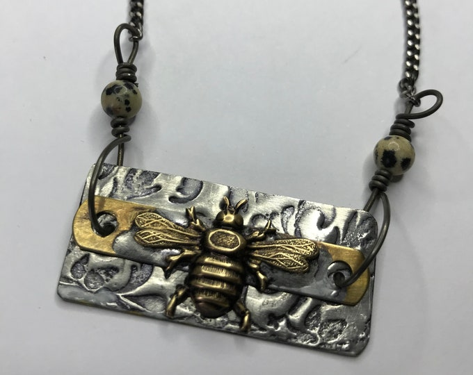 Bee Necklace, Soldered Bee Jewelry, Handmade Jewelry, OOAK Charm Necklace, Lead and Nickel Free Soldered Brass Tag