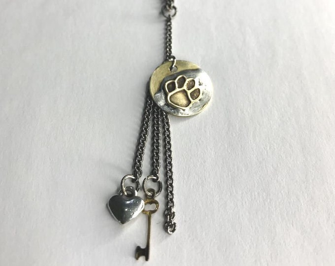 Paw Necklace with Dangling Charms, Handmade Jewelry, OOAK Charm Necklace, Lead and Nickel Free Soldered Brass Tag