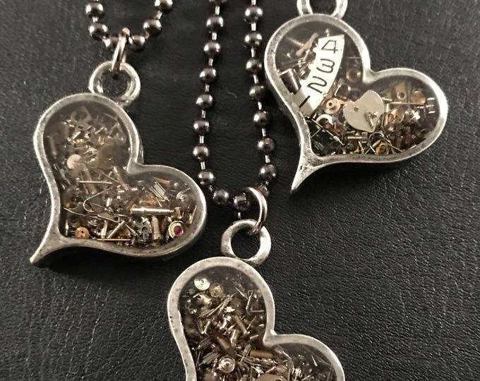 Heart Necklace with Vintage Watch Parts, Industrial Steampunk Style, One Of a Kind Jewelry in an Antique Silver or Bronze Nickel Free Bezel