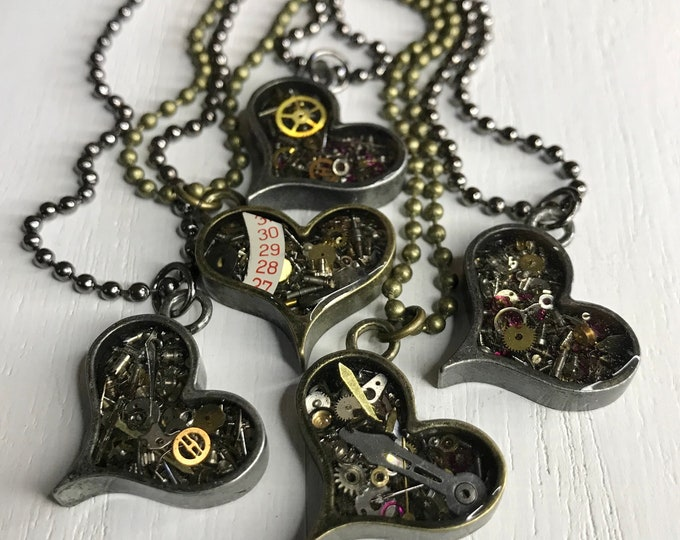 Mini Geared Up Heart Necklace, Gear Necklace, Steampunk Necklace, Vintage Watch Part Necklace, Heart with Gears, OOAK Industrial Necklace