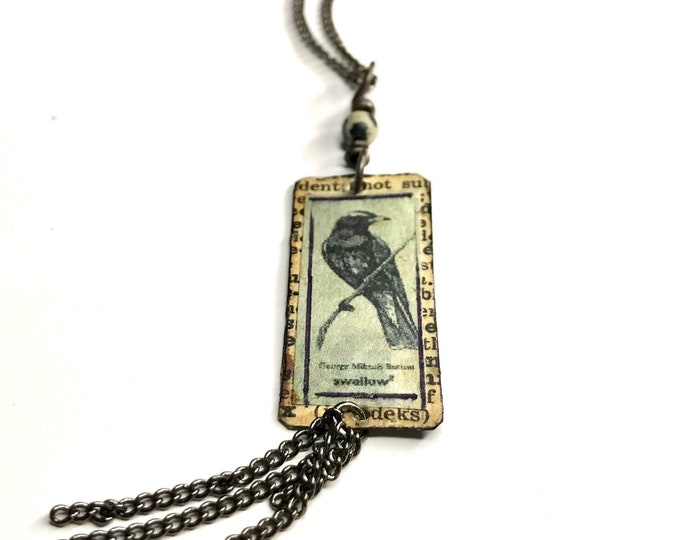 Swallow Dictionary Collage Pendant,