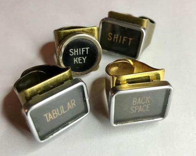 Typewriter Key Ring, Typewriter Key Jewelry, Repurposed Vintage Typewriter Jewelry, Upcycled Jewelry, One Of A Kind Ring, Adjustable Ring