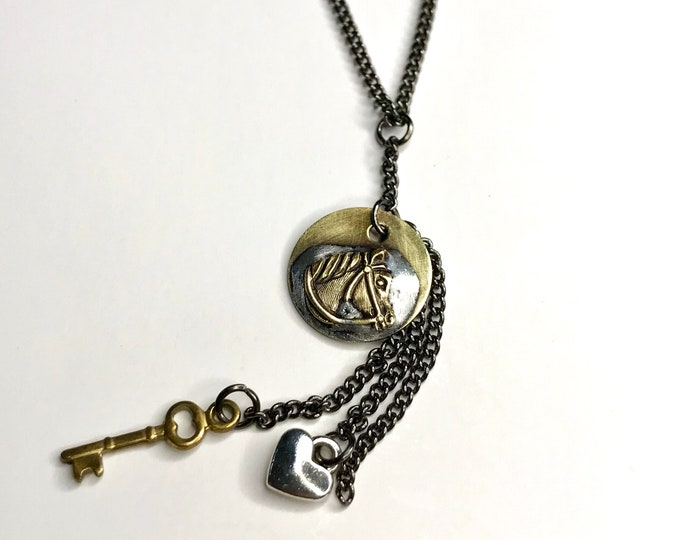 Horse Charm Necklace, Soldered Necklace, Handmade Jewelry, OOAK Charm Necklace, Lead and Nickel Free Soldered Brass Tag