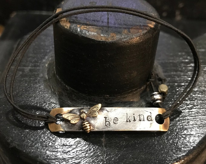 Bee Bracelet, Paracord Bracelet, Stamped Bracelet, Be Kind Soldered Metal Bracelet, Bee Jewelry, Friendship Bracelet, Minimalist Bracelet,