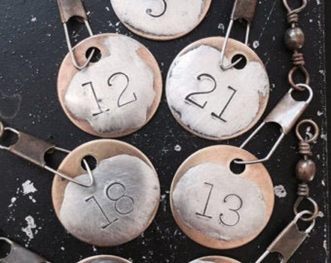 Stamped Number Tag, Number Charm, Soldered Metal Tags, DIY Necklace Parts, DIY Number Charms, Metal  Number Charm, Hand Made Necklace Charm