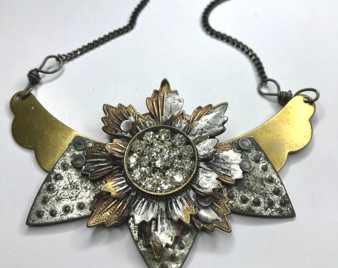 Industrial Flower Necklace, One Of A Kind Hand Made Jewelry, Repurposed Watch Part Necklace, Steampunk Necklace, Soldered Mixed Media Collar
