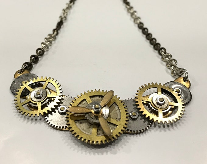 Repurposed Propeller Necklace, Steampunk Choker, Vintage Gear  Necklace, OOAK Repurposed Necklace, Upcycled Necklace, Recycled Gear Necklace