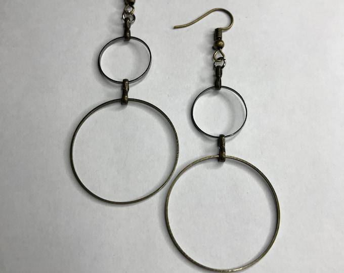 Minimalist Circle Earrings, Geometric Earrings, Boho Earrings, Circle Jewelry, Bronze Hoop Earrings, Drop Earrings, Dangle Earrings,