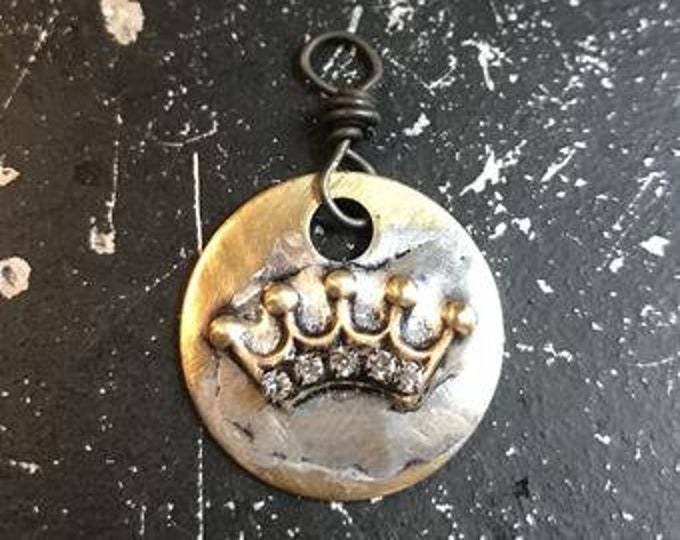 Crown Charm, Soldered Crown Pendant, Rhinestone Crown Charm, Soldered Metal Charm, DIY Necklace Parts, Metal Charm, Hand Made Necklace Charm