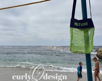 Green/Blue Mesh Shell Tote - customized with embroidery