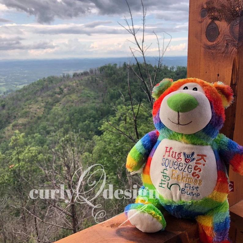 Cubbie stuffed rainbow bear subway art style embroidered image 0