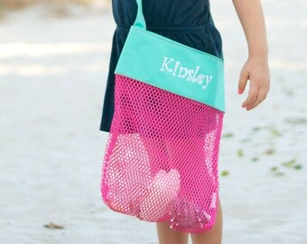 Pink/Aqua Mesh Shell Tote - customized with embroidery
