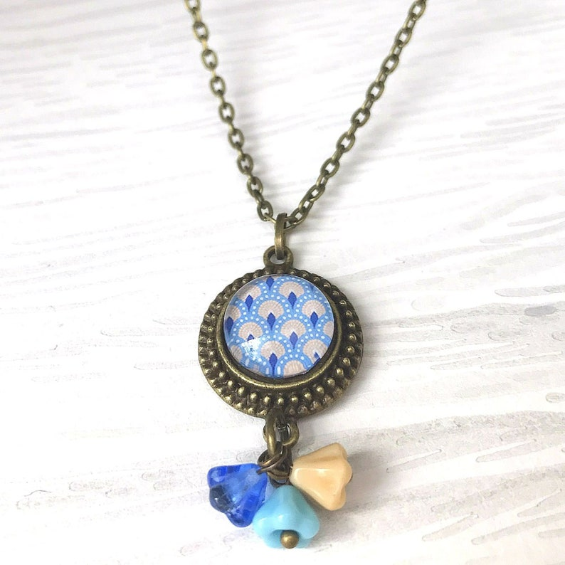 Vintage Style Charm Necklace Art Deco Gift for Her Coastal Colours