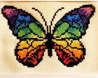 Rainbow Butterfly Cross Stitch Pattern Pdf digital download