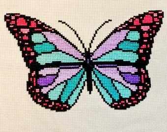 Pastel Butterfly Cross Stitch Pattern