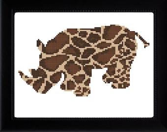 Rhino/Giraffe Mashup Cross Stitch Pattern