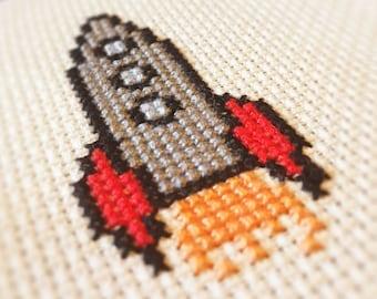 Mini Rocket Cross Stitch Pattern