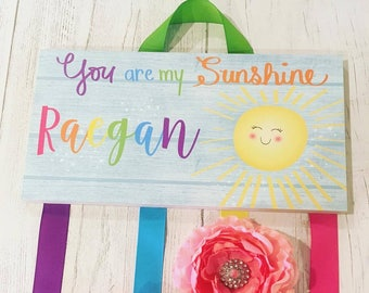 HAIR BOW HOLDER - Personalized Rainbow Sunshine HairBow Holder - Bows Clips Organizer Girls Personal Hair Bow Clip Hanger Hb0194