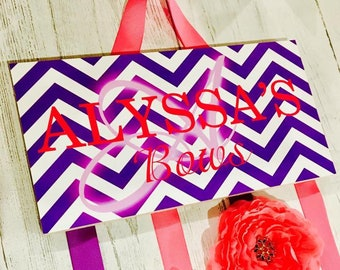 HAIR BOW HOLDER - Personalized Hot Pink and Purple Chevron Dots HairBow Holder - Bows Clippies Organizer - Girls Hair Bow Clip Hanger HB0209