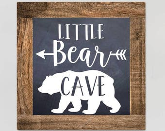 Bear Cave Pine Frame Chalkboard Style Children's Bedroom Wall Art WD0013