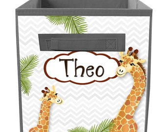 Rustic Floral Giraffe Pink Flowers Fabric Bin Girl/'s Personalized Bedroom Baby Nursery Organizer for Toys or Clothing FB0498