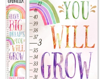 Canvas GROWTH CHART Watercolor Rainbow Have Big Dreams You Will Grow Into Them Saying Bedroom Baby Nursery Wall Art GC0573