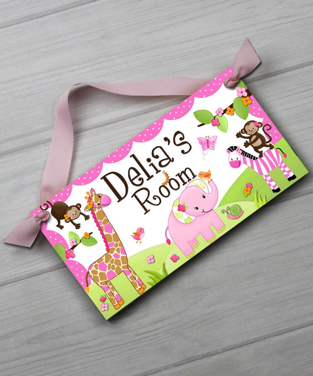 Girly Pink Nursery Decor: Pretty Pink Girly Jungle Animals Girls Bedroom Baby