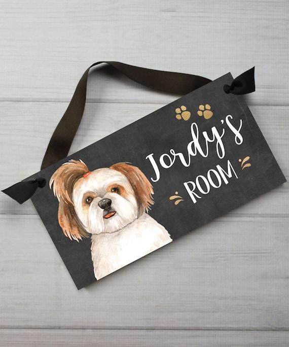 Shih Tzu Dog Door Sign Dog Bedroom Nursery Wall Art Decor Etsy