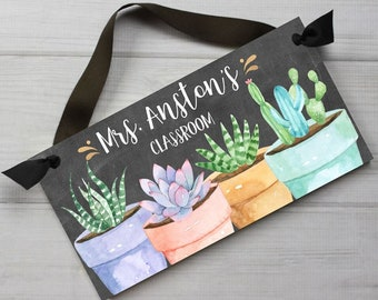Teacher Chalkboard Classroom with Potted Plants DOOR SIGN Teacher End of Year Christmas Present Gift TDS103