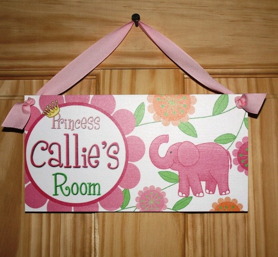Pink Elephant Girls Bedroom Baby Nursery Bedroom DOOR SIGN