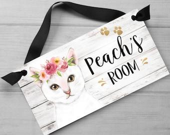 Floral White Cat DOOR SIGN Bedroom Nursery Wall Art Decor PP0140