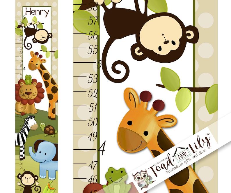 Toad and Lily Canvas GROWTH CHART Jungle Safari Animals Blue Elephant Monkeys Lion Giraffe Babies Bedroom Baby Nursery Wall Art GC0004
