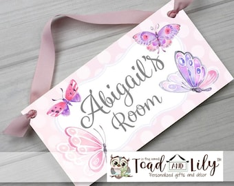 Pink and Lilac Butterfly Door Sign Pink Pretty Design Girls Posh Bedroom Personalized Name Plaque DS0688
