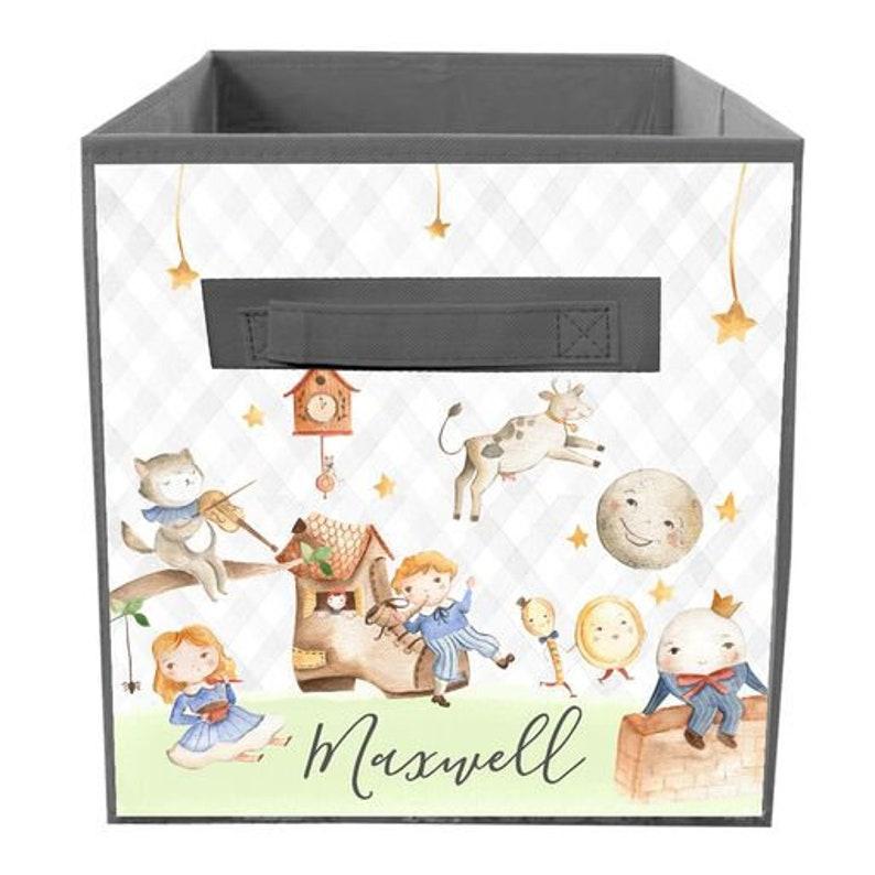 Nursery Rymes Bin Kid/'s Personalized Bedroom Baby Nursery Organizer for Toys or Clothing FB0322