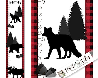 Canvas GROWTH CHART Forest Animal Silhouettes Lumberjack Red Plaid Woodland Kids Bedroom Nursery Personalized  Height Chart GC0350