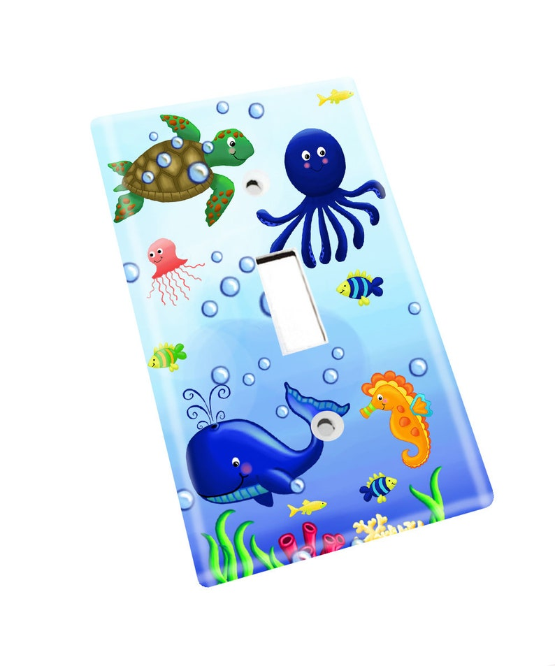 Ocean Creatures Kids Bathroom Bedroom Light Switch Cover LS0035 Single Outlet