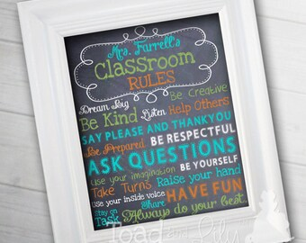 Teacher Classroom RULES 11x14 Print Class Rules Manners - Personalized Gift for Teacher