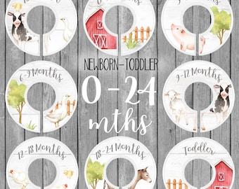 Set of 8 Newborn to Toddler 0-24 Months CLOSET DIVIDERS Farm Animals Barn Rustic Farming Bedroom and Baby Nursery Art Decor OCD005
