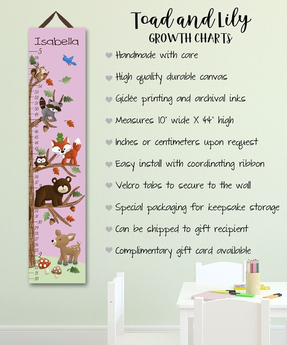Canvas Growth Chart Pink Woodland Friends Forest Animals Girls Bedroom Baby Nursery Wall Art GC0110