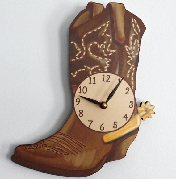 Cowboy Boot Wooden Wall Clock For Kids Bedroom Baby