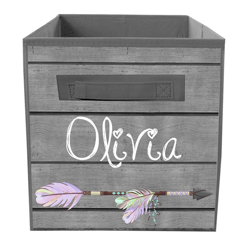 Rustic Lilac Feathered Arrow Fabric Bin Kid/'s Personalized Bedroom Baby Nursery Organizer for Toys or Clothing FB0356