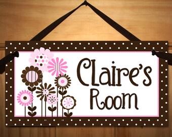 Brown and Pink Flowers Girls Bedroom and Baby Nursery Kids Bedroom DOOR SIGN Wall Art DS0324
