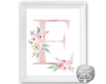 Digital DIY Print Your Own 1, 8x10 Pink Gold Floral Peony Personalized Initial Letter ART PRINT Girl's Bedroom Wall Art