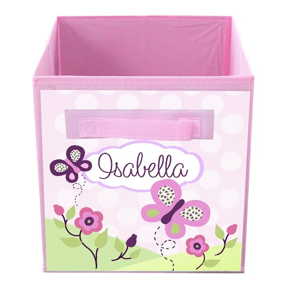 Purple and Orange Butterflies Flowers Garden Fabric Bin Girl/'s Personalized Bedroom Baby Nursery Organizer for Toys or Clothing FB0384