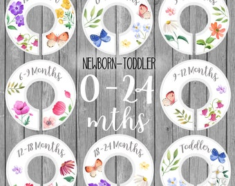 Set of 8 Newborn to Toddler 0-24 Months CLOSET DIVIDERS Wildflowers Floral Flowers Girls Bedroom and Baby Nursery Art Decor OCD007