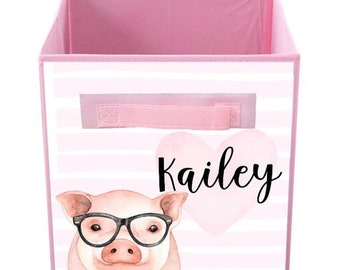 Pig Love Bin Kid's Personalized Bedroom Baby Nursery Organizer for Toys or Clothing FB0299