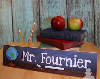 Teacher World Globe Personalized DESK PLAQUE Teacher End of Year Christmas Present Gift DP0004